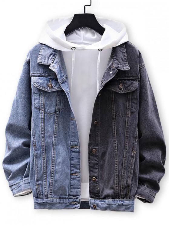 hot Color Blocking Button Up Denim Jacket - LIGHT BLUE M