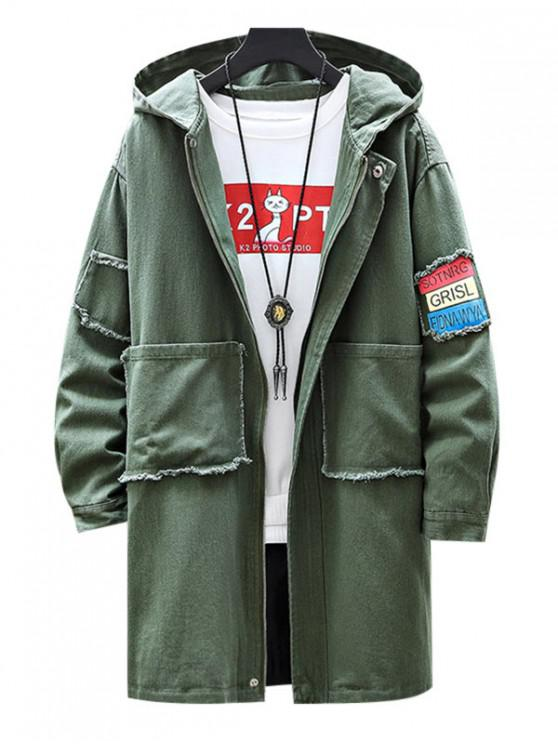 shop Casual Letter Print Zip Up Hooded Jacket - ARMY GREEN S