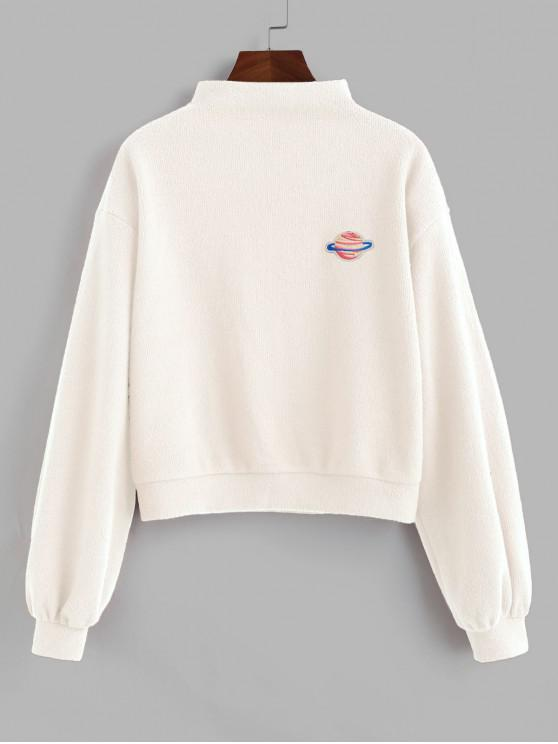 womens ZAFUL Planet Embroidered Drop Shoulder Knit Sweatshirt - WARM WHITE XL