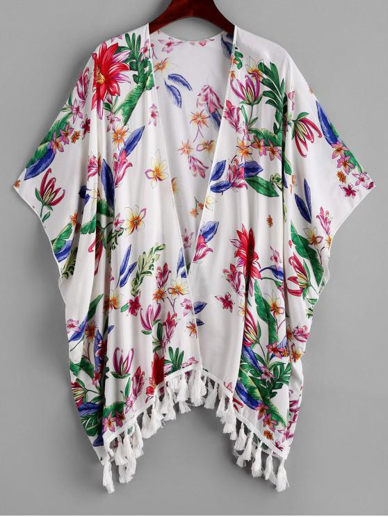women's ZAFUL Flower Print Open Tassel Tunic Cover Up - MULTI-A S