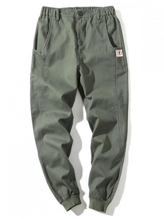 Scrisoare de model Zip Fly design pantaloni casual - Armata verde XL