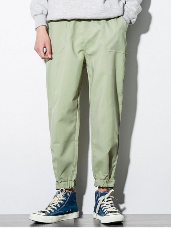 online Solid Color Pocket Decoration Jogger Pants - LIGHT KHAKI XS