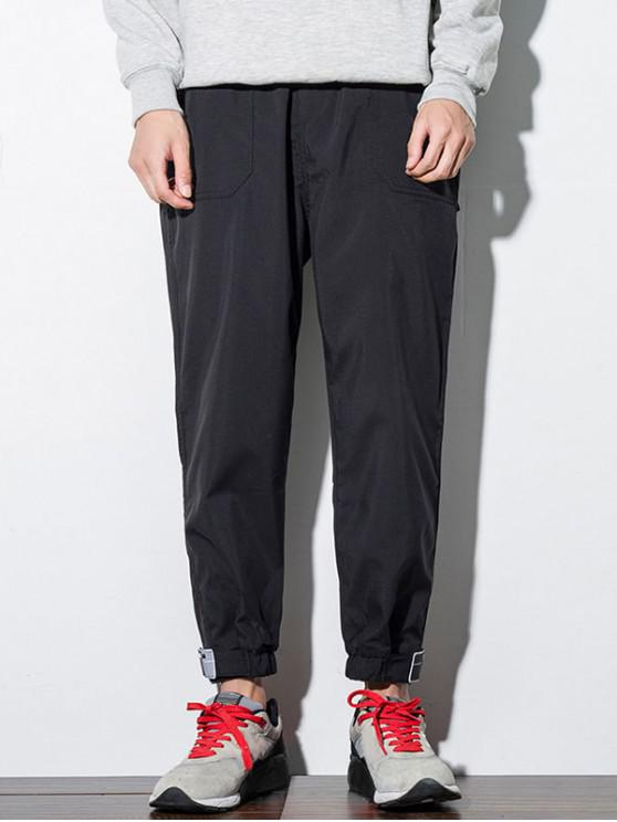 Pantaloni de culoare buzunar de decorare Jogger solide - Negru 2XL