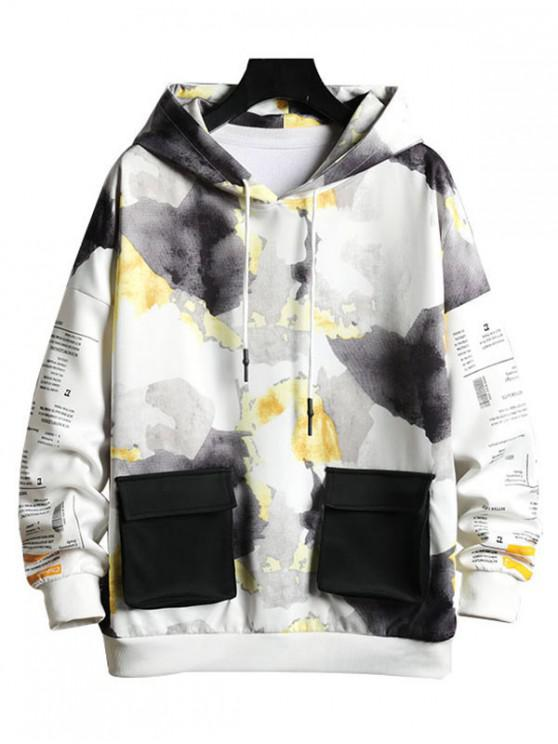 best Camouflage Letter Graphic Print Contrast Pocket Hoodie - YELLOW XL