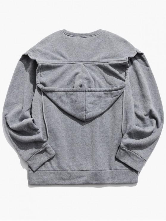 online Convertible Collar Front Pocket Fleece Hoodie - LIGHT GRAY 2XL