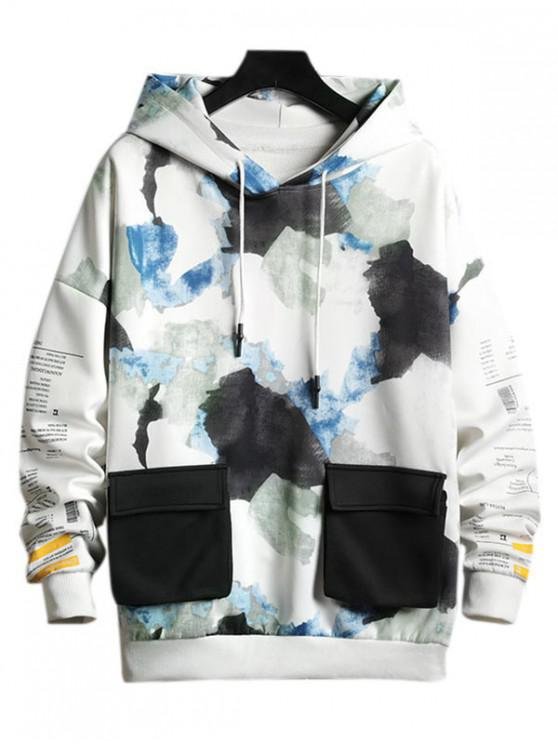trendy Camouflage Letter Graphic Print Contrast Pocket Hoodie - BLUE M