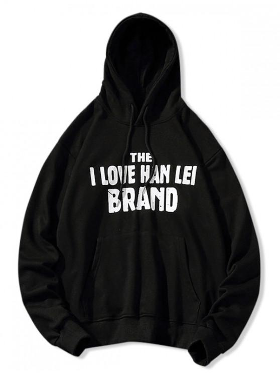 affordable Letter Print Casual Pouch Pocket Drawstring Hoodie - BLACK L