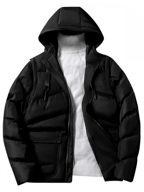 trendy Solid Color Zip Up Hooded Puffer Jacket - BLACK XS