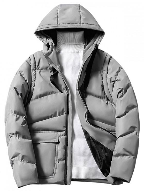 affordable Solid Color Zip Up Hooded Puffer Jacket - LIGHT GRAY S