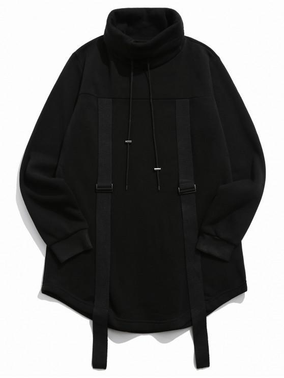 shops Turtleneck Fleece Drawstring Gothic Sweatshirt - BLACK XL