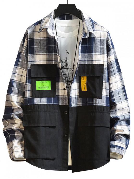 new Colorblock Spliced Plaid Applique Button Shirt - BLACK 4XL