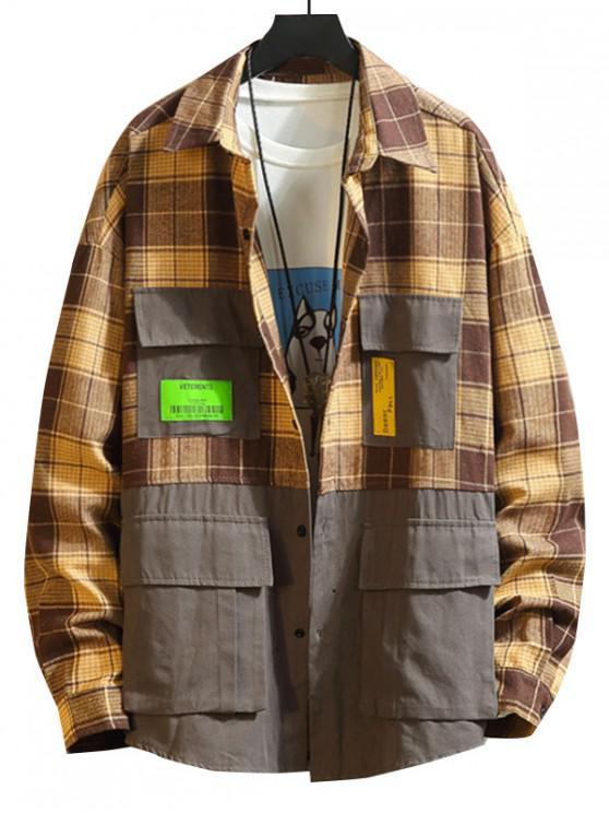latest Colorblock Spliced Plaid Applique Button Shirt - KHAKI 4XL