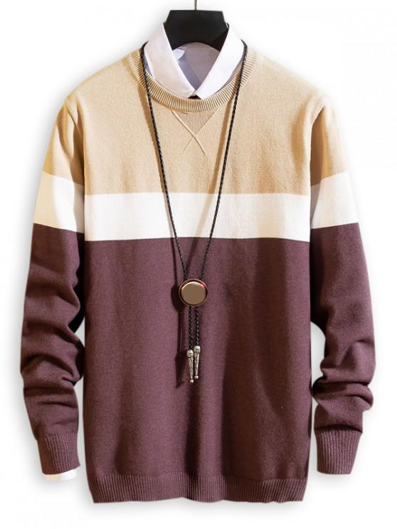 new Splicing Colorblock Round Neck Pullover Sweater - FIREBRICK XS