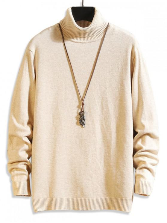 womens Solid Turtleneck Collar Casual Pullover Sweater - APRICOT XS