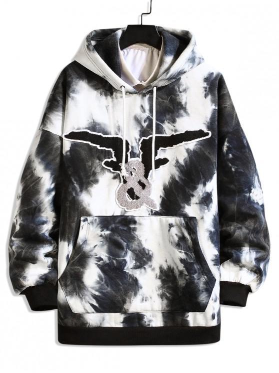 trendy Graphic Tie Dye Drop Shoulder Fleece Hoodie - BLACK M