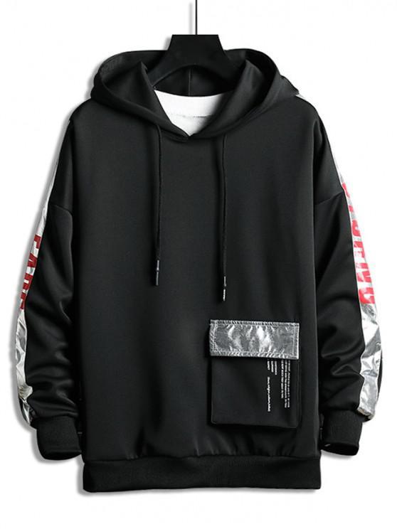 outfits Metallic Letter Contrast Trim Pocket Drop Shoulder Hoodie - BLACK L