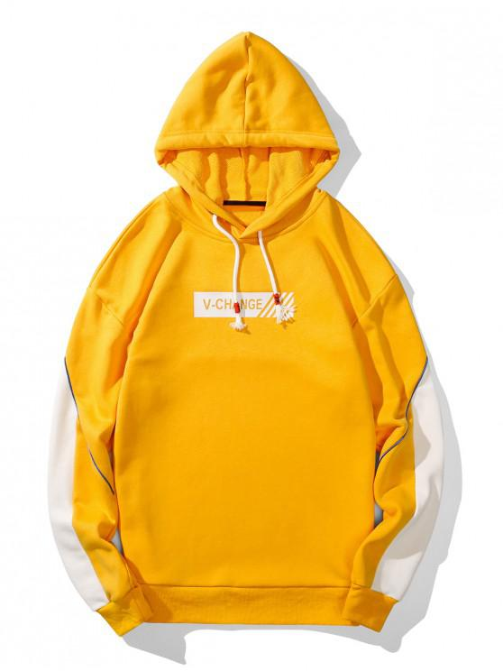 unique V Change Graphic Piped Drawstring Hoodie - YELLOW XL
