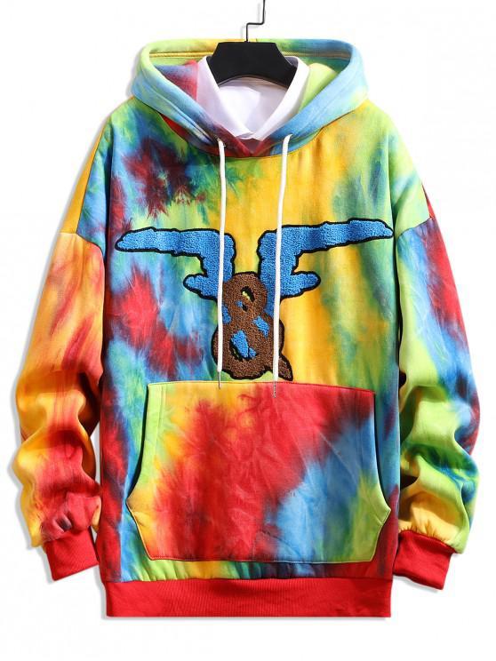 Graphic Tie Dye Picătură Umăr Fleece Hoodie - Fantastic XL