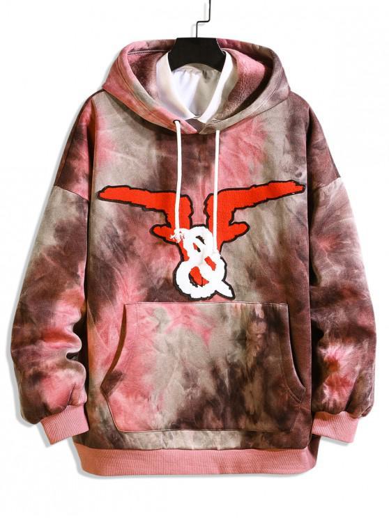 best Graphic Tie Dye Drop Shoulder Fleece Hoodie - RED XL