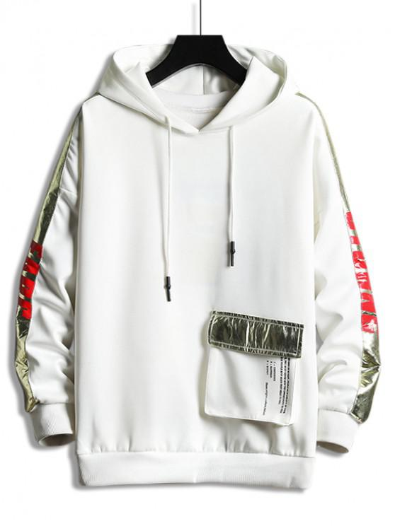 buy Metallic Letter Contrast Trim Pocket Drop Shoulder Hoodie - WHITE 3XL