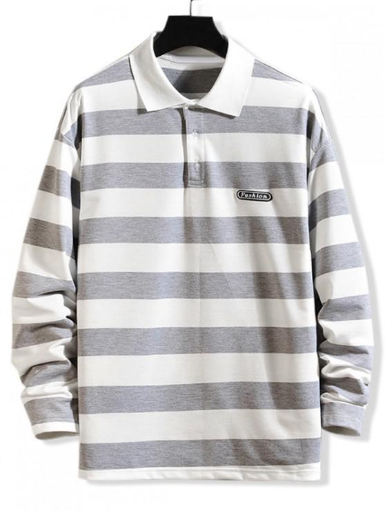 fancy Striped Pattern Long-sleeved T-shirt - GRAY CLOUD XS