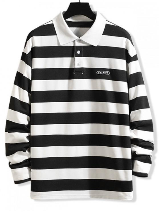 ladies Striped Pattern Long-sleeved T-shirt - BLACK 2XL