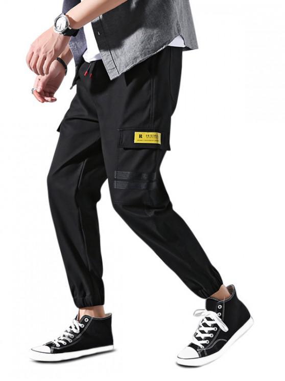 chic Flap Pocket Striped Applique Drawstring Jogger Pants - BLACK XS
