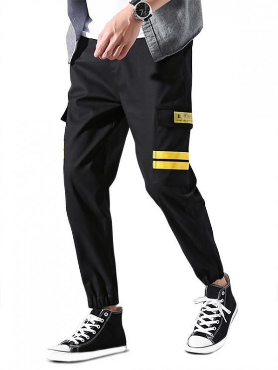 unique Flap Pocket Striped Applique Drawstring Jogger Pants - YELLOW L