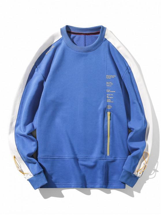 lady Zip Accent Letter Text Drop Shoulder Sweatshirt - BLUE XL