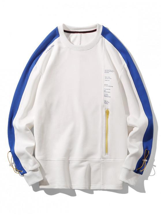 buy Zip Accent Letter Text Drop Shoulder Sweatshirt - WHITE XL