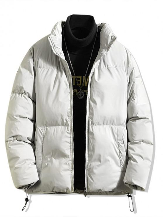 lady Solid Applique Toggle Drawstring Puffer Jacket - LIGHT GRAY L