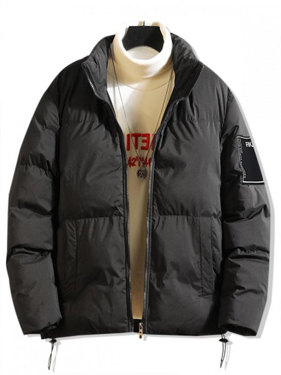 hot Solid Applique Toggle Drawstring Puffer Jacket - BLACK M