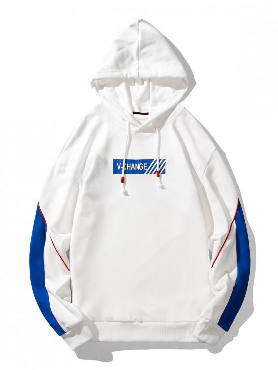 buy V Change Graphic Piped Drawstring Hoodie - WHITE L