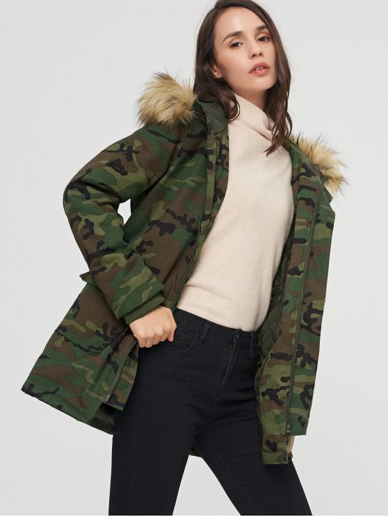 women Camo Pocket Quilted Parka Coat - ACU CAMOUFLAGE S