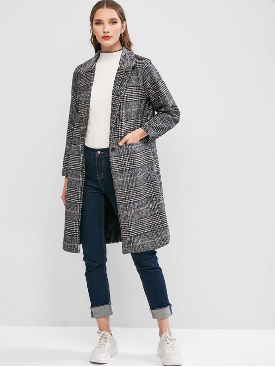 hot Longline Plaid One Buttoned Pockets Tweed Coat - BLACK S