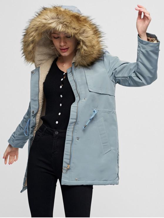 shop Pocket Drawstring Waist Faux Fur Lining Parka Coat - BABY BLUE S