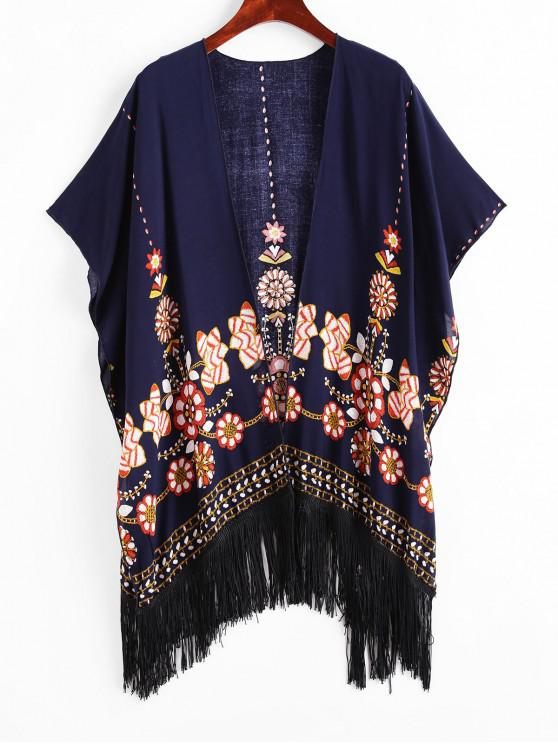 womens ZAFUL Flower Print Open Fringed Tunic Cover Up - MIDNIGHT BLUE M