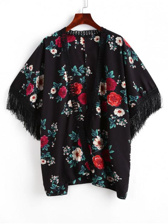 trendy ZAFUL Flower Crochet Trim Open Fringed Cover Up - BLACK L