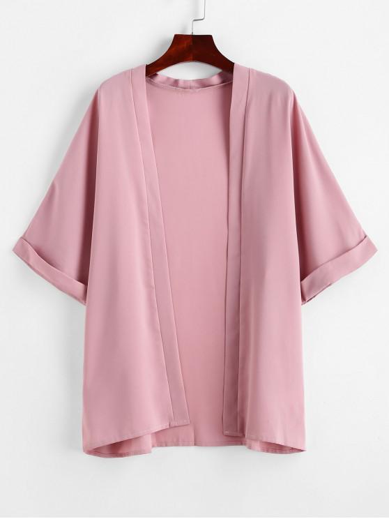 unique ZAFUL Cuff Sleeve Open Front Kimono Cover Up - LIGHT PINK L