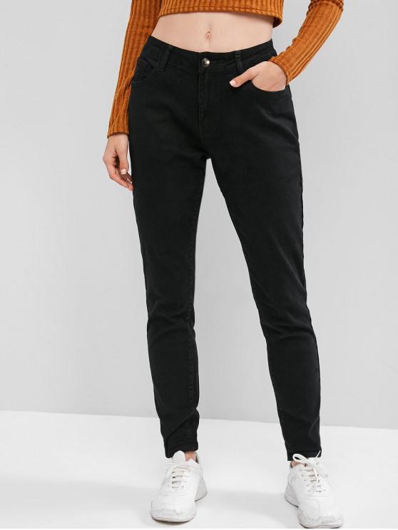 ladies Mid Rise Pocket Skinny Elastic Jeans - BLACK L