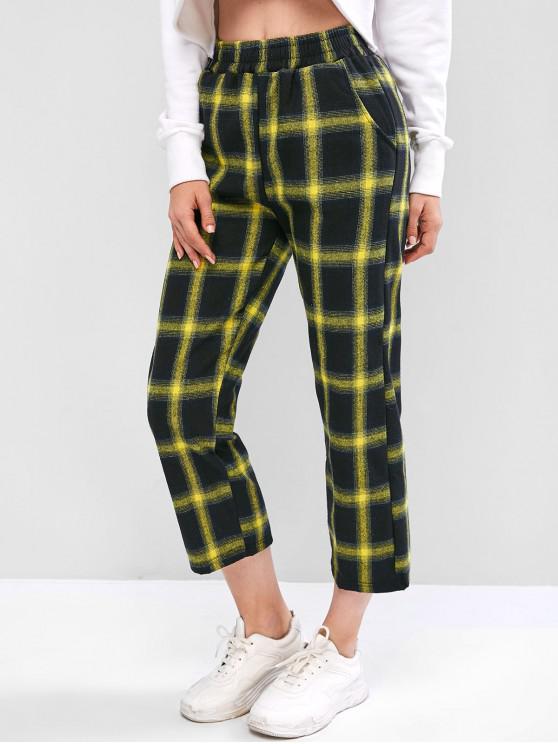 womens Plaid Pocket Straight Pants - YELLOW XL