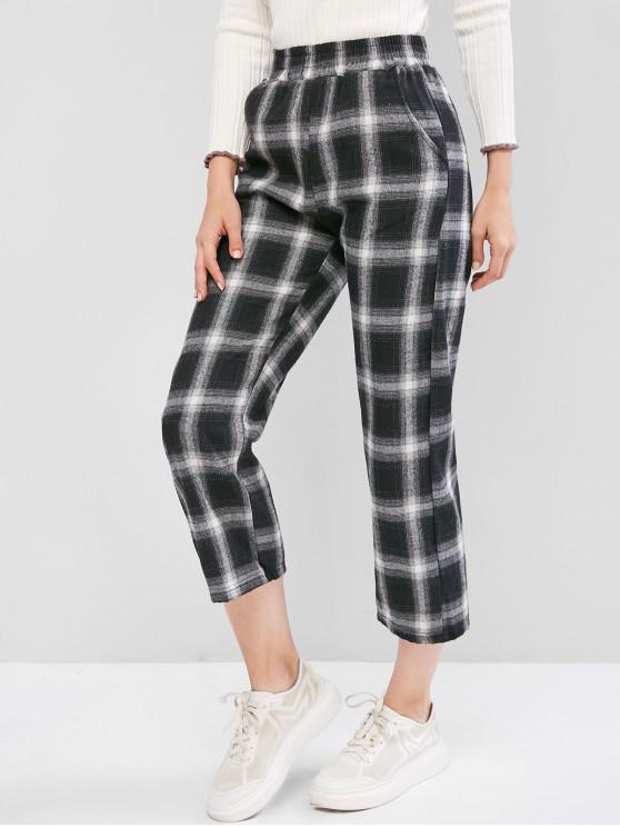 womens Plaid Pocket Straight Pants - BLACK L