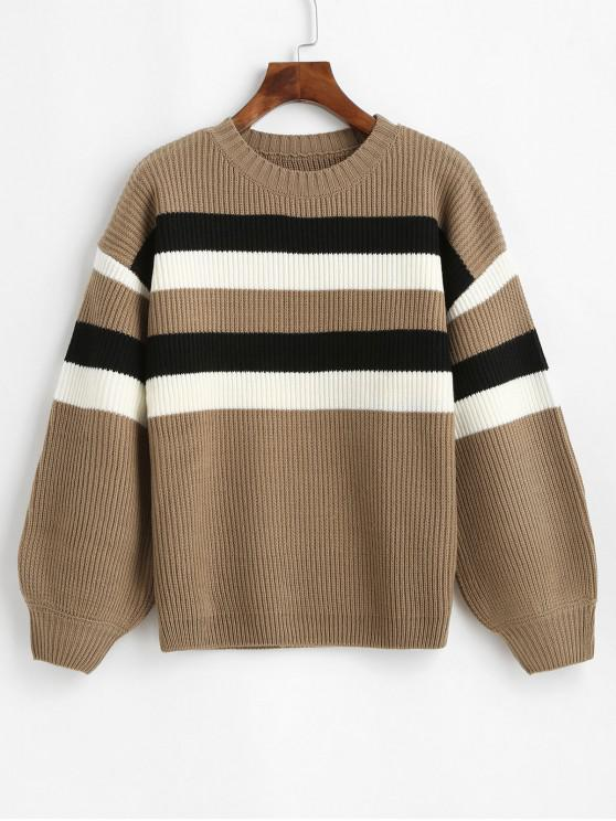 fancy Contrast Stripe Drop Shoulder Sweater - CAMEL BROWN L