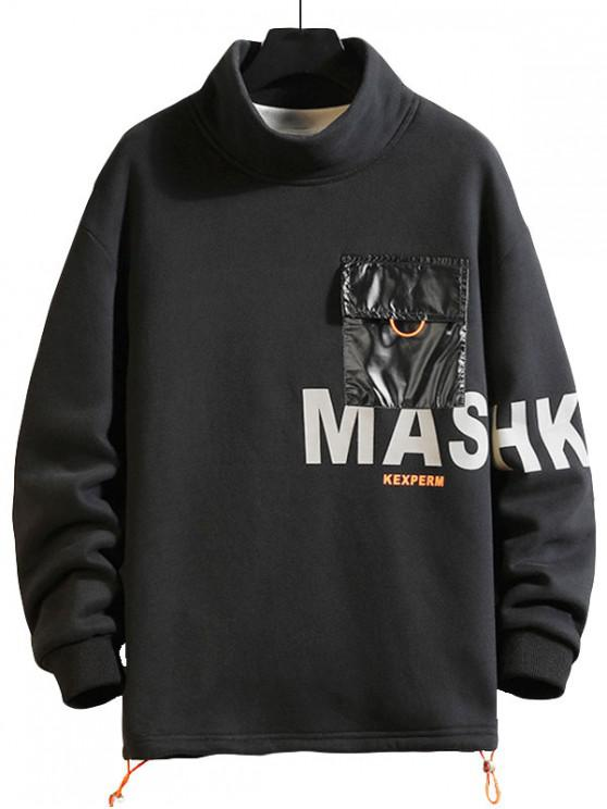 shop Letter Print Color Blocking Pocket Fleece Sweatshirt - BLACK M