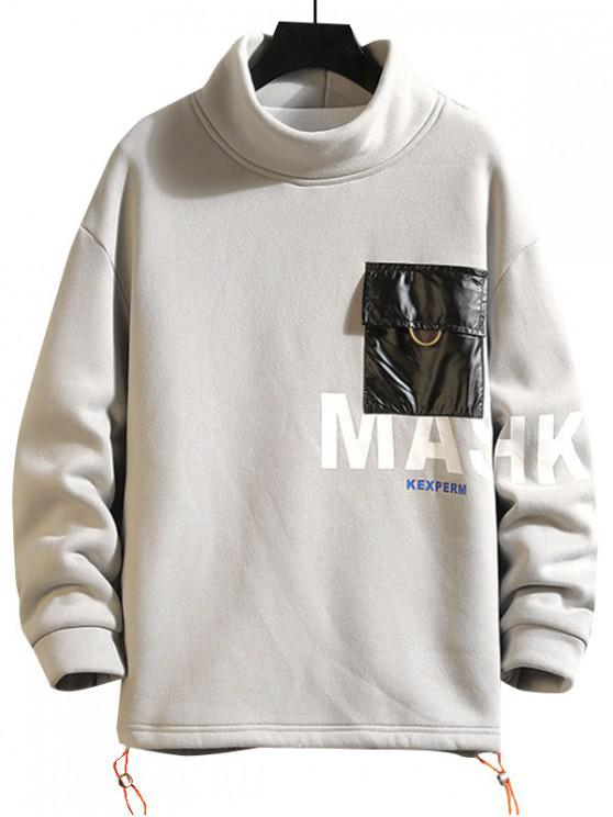 unique Letter Print Color Blocking Pocket Fleece Sweatshirt - GRAY XL