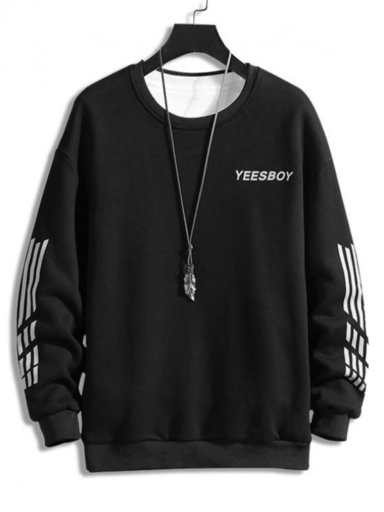 Scrisoare Striped Print Fleece Sweatshirt - Negru XS