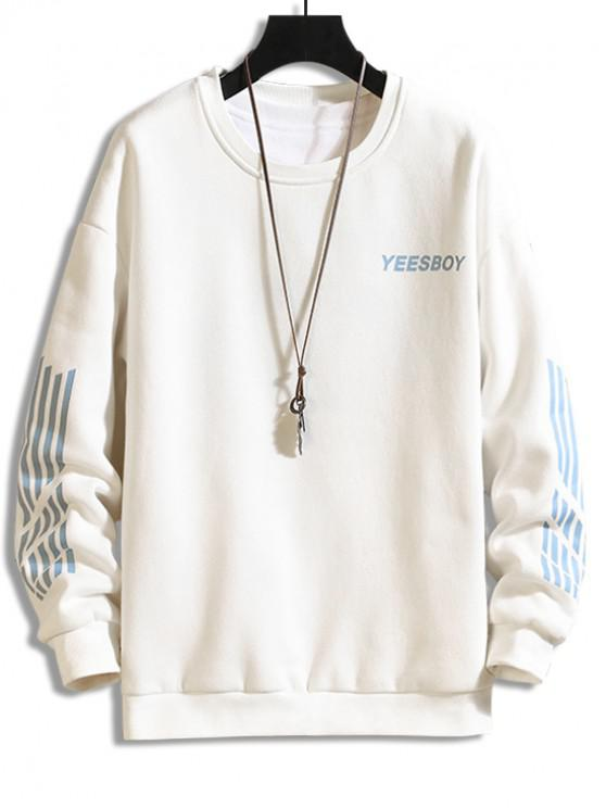 ladies Letter Striped Print Fleece Sweatshirt - WHITE XS