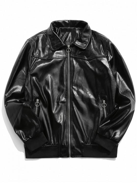 O型拉環仿皮拉鍊拉上夾克 - 黑色 XL