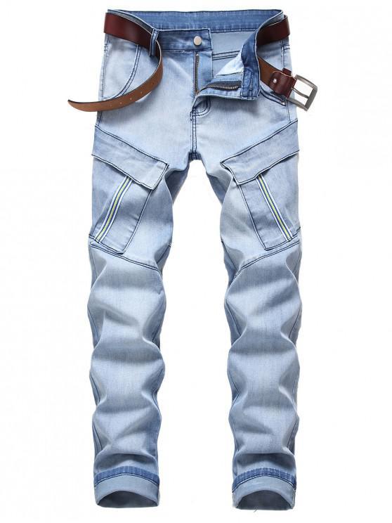 Buzunar de decorare Zip Fly Blugi Casual - Jeans Blue 42