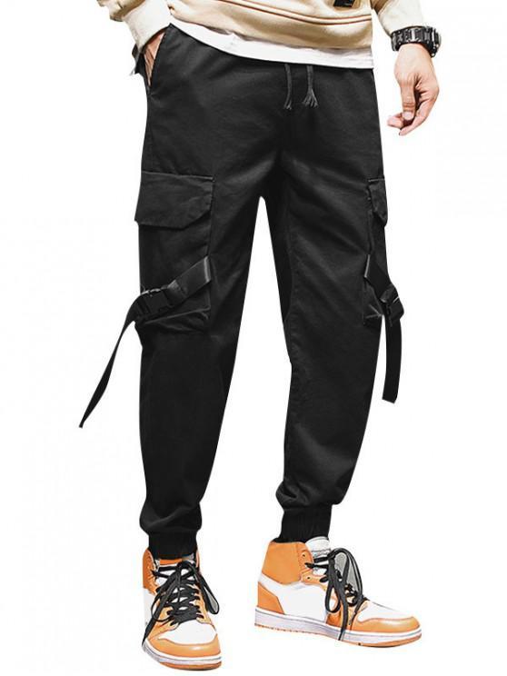 online Applique Ribbon Strap Drawstring Cargo Jogger Pants - BLACK S